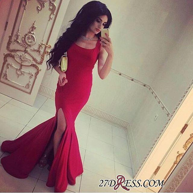 Simple Red Mermaid Square-Neck Side-Slit Straps Evening Gowns