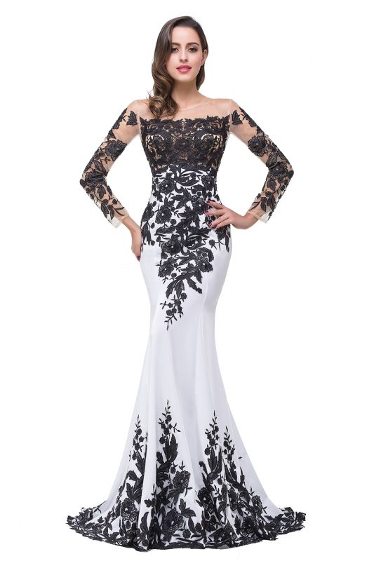 Glamorous Long Sleeve Mermaid 2020 Evening Dress Black Appliques Mother Dress