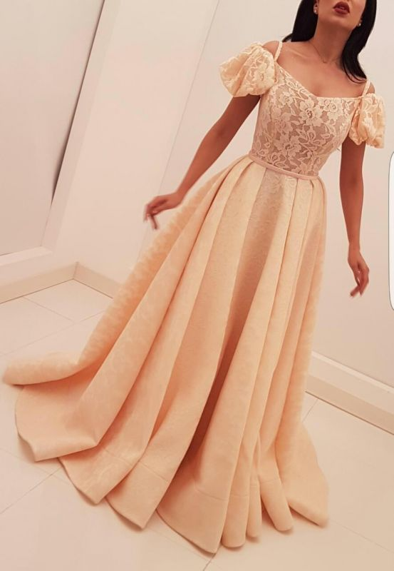 New arrival Bubble-Sleeves Long Evening Gown | Lace Appliques A Line Prom Dress On Sale