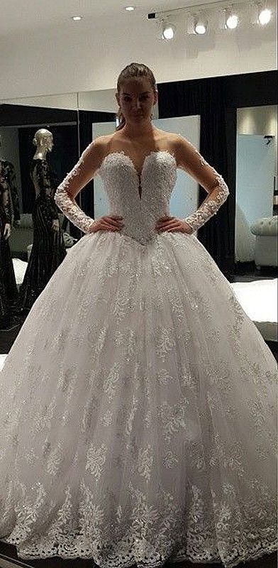 Charming Long Sleeve 2020 Lace Ball Gown Wedding Dress Floor-Length