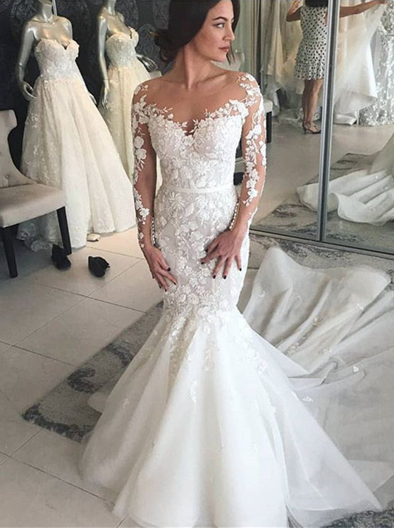 Charming Crew Long Sleeves Wedding Dress | Mermaid Lace Appliques Bridal Gowns On Sale