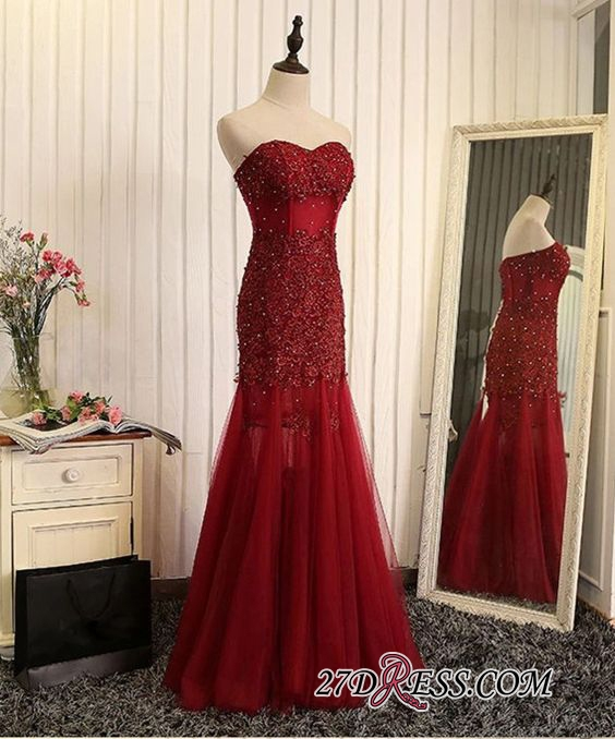 Gorgeous Sweetheart Mermaid 2020 Prom Dress Tulle With Lace Appliques