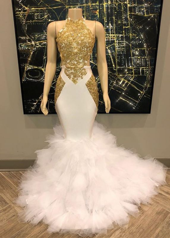 Gorgeous Halter Gold and White Prom Dress | 2020 Mermaid Long Evening Gowns BC1515