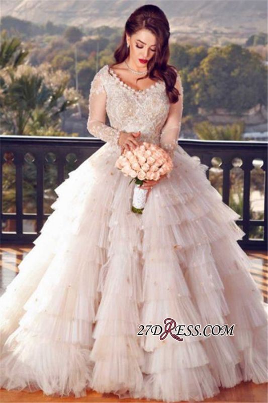 Luxury Tiered Ball Gown Wedding Dresses | V-Neck Long Sleeveless Lace Appliques Bridal Gowns