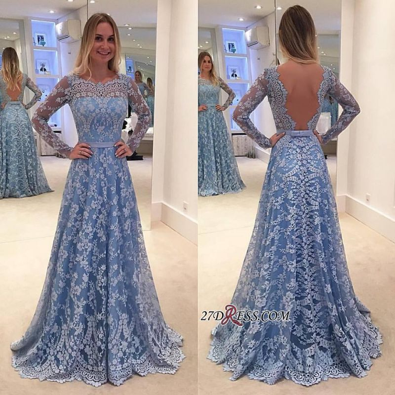 Lace Backless Long-Sleeve Sweep-Train A-line Delicate Long Prom Dress
