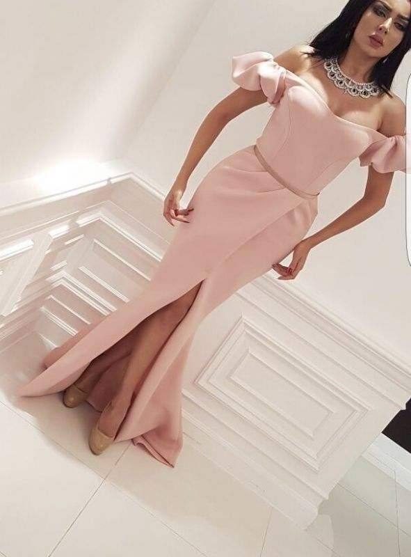 Decent Pink Mermaid Off-The-Shoulder Prom Gown | 2020 Long Front Split Bubble-Sleeves Evening Dress