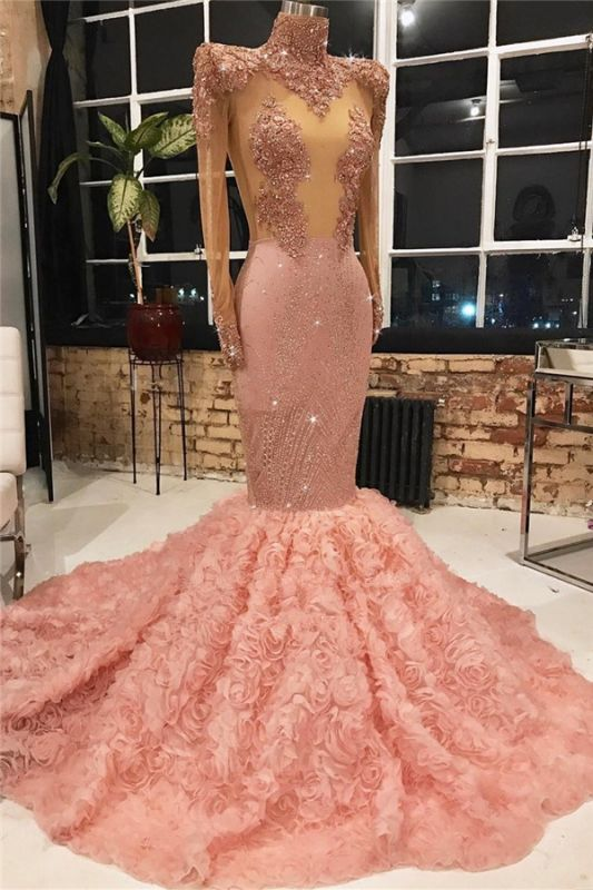 Glamorous Pink Long Sleeve 2020 Prom Dresses | Mermaid Sequins Flowers Evening Gowns
