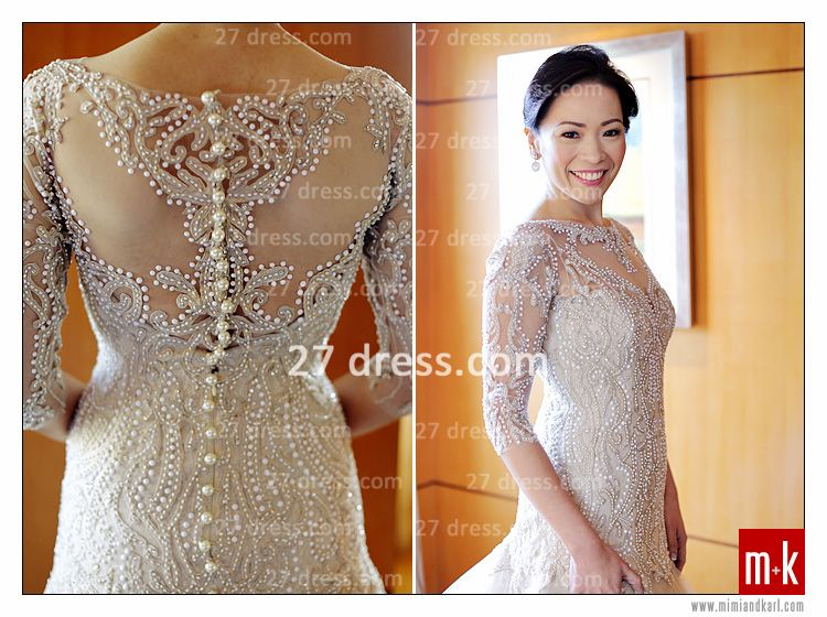 Train Wedding Dresses Bridal Gowns 2020 Beads Sequins Appliques Bateau Long Sleeves Button Back Court A-line