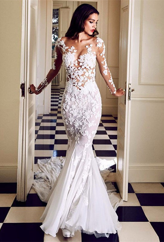 Charming Crew Long Sleeve Wedding Dresses | Mermaid Lace Appliques Bridal Gowns On Sale