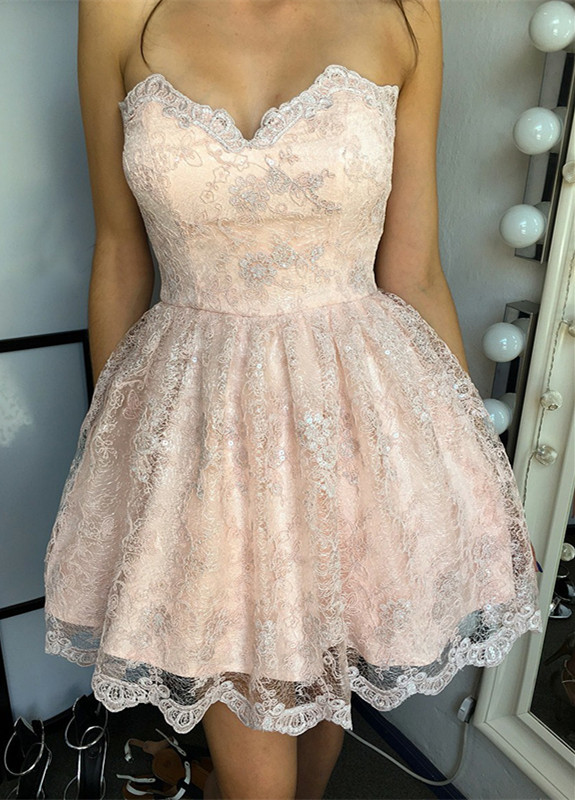 Hot Sale Lace Homecoming Dress Sweetheart Lace-up 2020 Short Prom Dress
