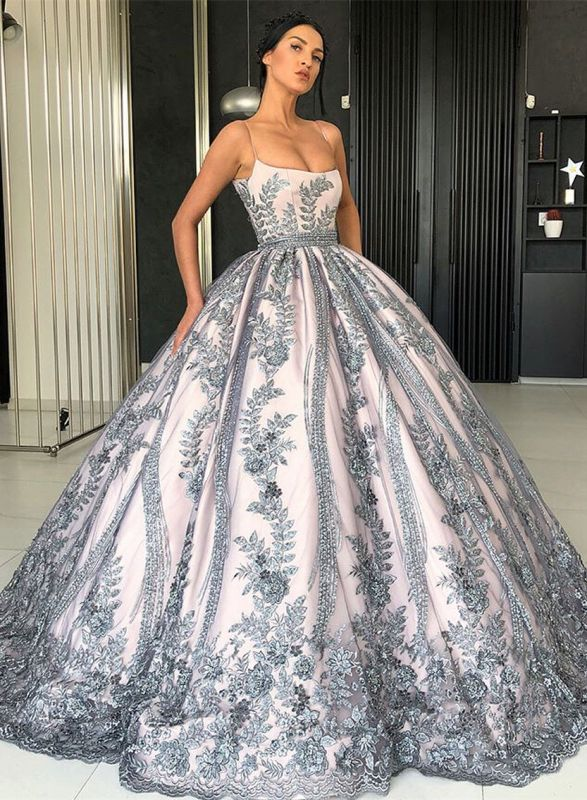 Gorgeous Spaghetti Strap Sleeveless Prom Dress   Ball Gown Lace Appliques Evening Gowns