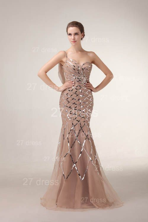 One Shoulder Mermaid Prom Gowns 2020 Sequined Sweep Train Evening Dresses