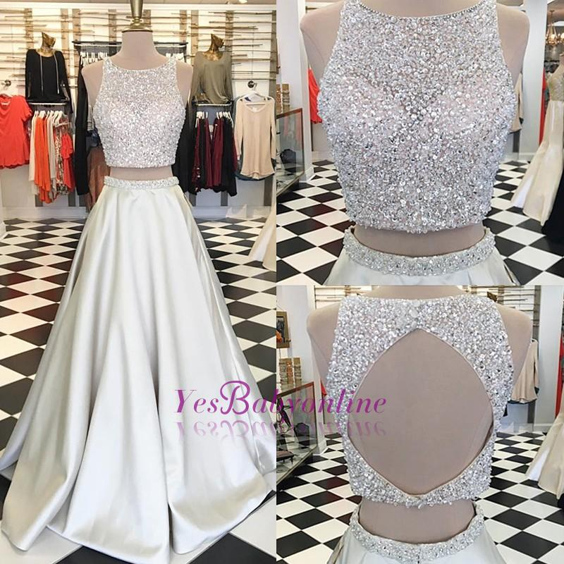 Gorgeous Crystals A-line Sleeveless Jewel Two-Piece Prom Dress