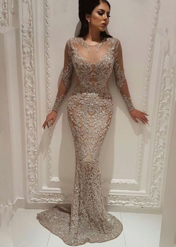 2020 Popular Mermaid Crew Illusion Beadings Prom Dress | 2020 Long Sleeves Evening Gown