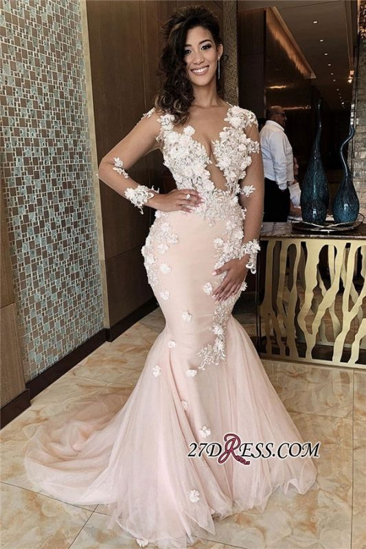 Long-sleeve Sexy Scoop Applique Mermaid Prom Dress