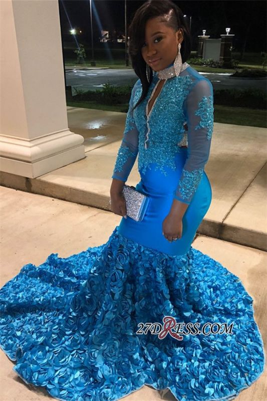 Glamorous Sheer Tulle Flower Applique Prom Dress | Blue Lone-Sleeves Backless Mermaid Prom Gown