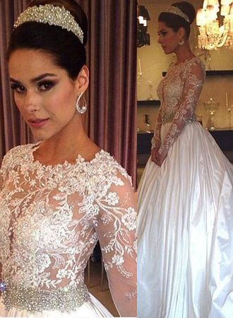 New Arrival Lace Appliques Long Sleeve Satin Wedding Dress Beadings Princess 2020