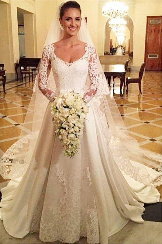 Elegant Scoop Long Sleeve Wedding Dress With Lace Appliques BA9260