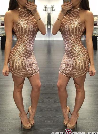 Sequins Halter-Neck Tight Sheath Short Homecoming Dresses