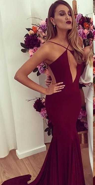 Sexy Backless Mermaid Burgundy Prom Dresses 2020 Floor length