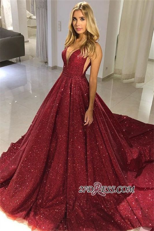 Glamorous Sequins V-Neck Sleeveless Prom Dresses | 2020 Long Sequins Evening Gowns On Sale BC0714