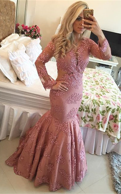 Fuchsia Lace 2020 Prom Dress   Long Pearls Evening Gowns
