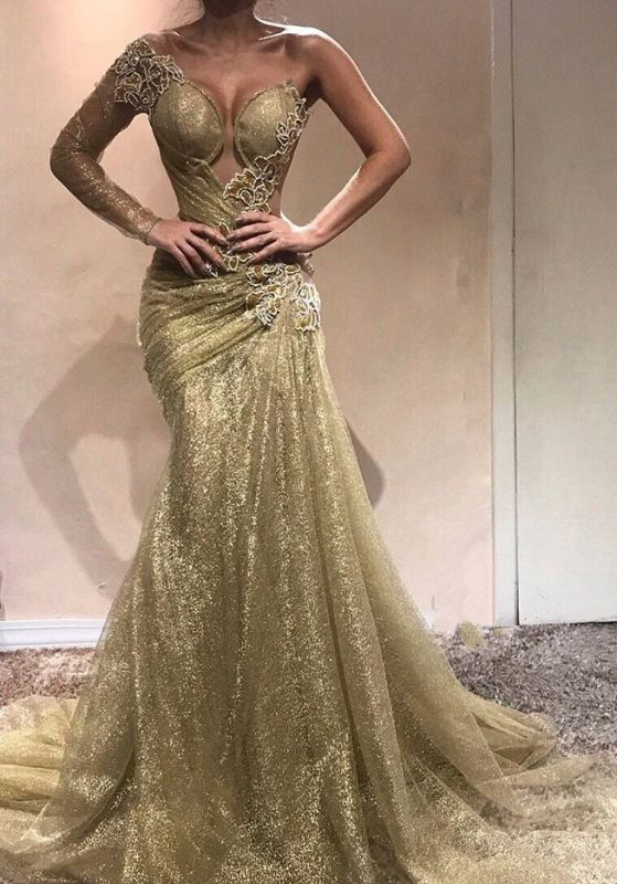 2020 Decent One Shoulder Long Sleeves Prom Dresses | Mermaid Long Evening Gown On Sale BC0750