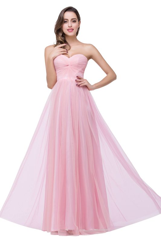 Elegant Sweetheart Pink Bridesmaid Dress 2020 Ruched Long Prom Gown