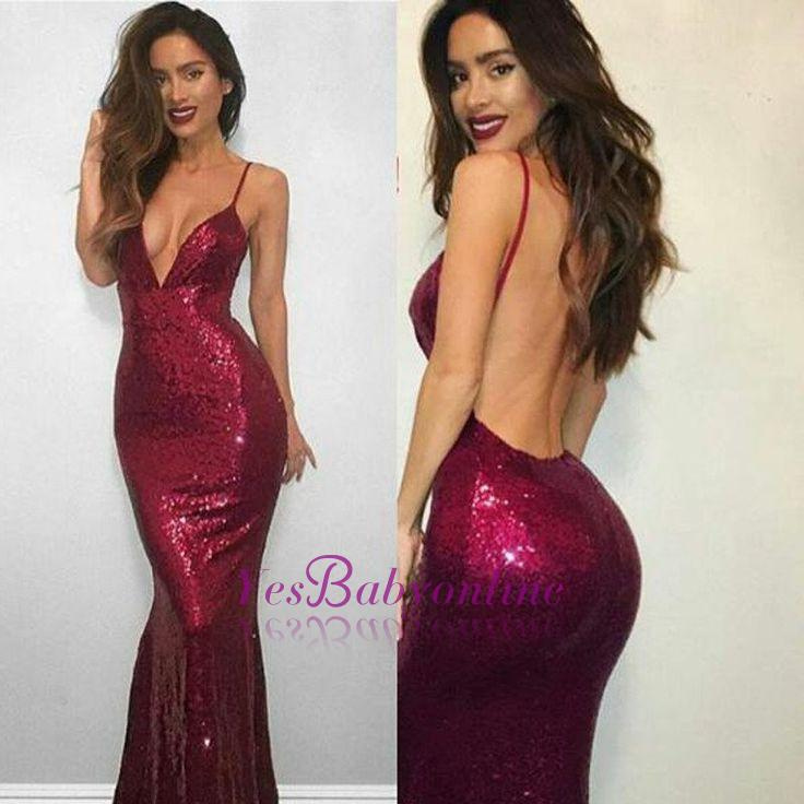 Red Spaghetti-Strap Backless Sleeveless Sexy Mermaid Sequined V-neck Prom Dress
