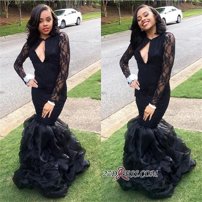 Black Lace Long-Sleeves Mermaid Sexy Keyhole-Neck Ruffles-Skirt 2020 Prom Dresses