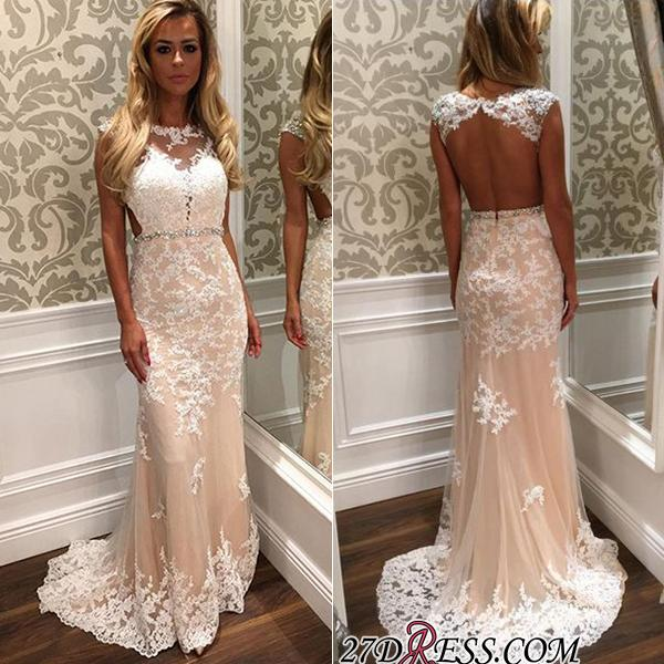 2020 Tulle Open-Back Gorgeous Long Lace Crystal Prom Dress BA4294
