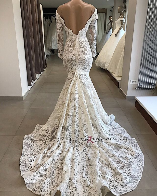 Appliques Off-the-shoulder Lace Long-Sleeves White Mermaid Elegant Wedding Dresses