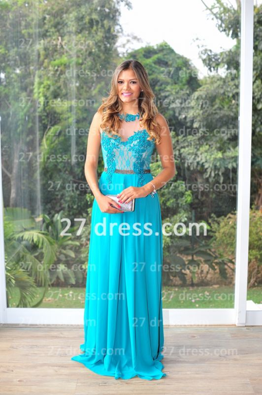 Womens Long Evening Prom Dresses Hot Sale Lindo Vestidos De Fiesta Party Gowns Blue Scoop Pearls Chiffon Lace