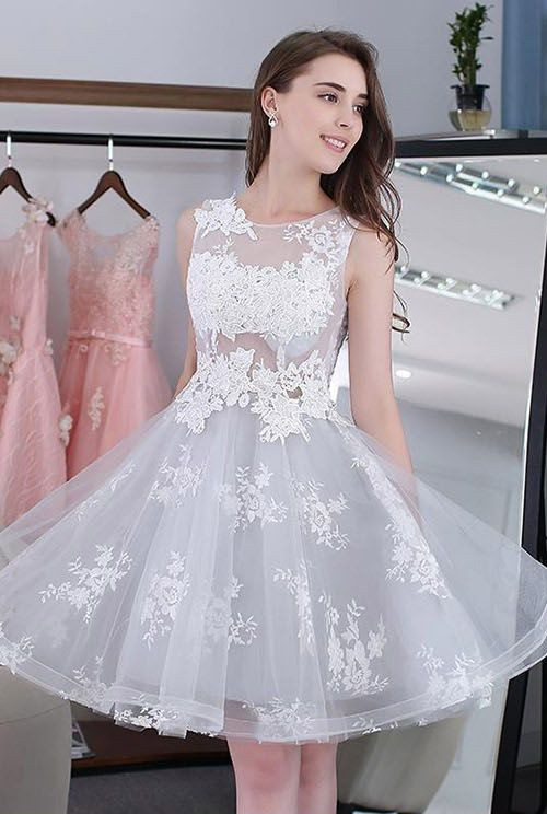 Newest Illusion Lace Appliques A-line Short Homecoming Dress | 2020 Homecoming Gown