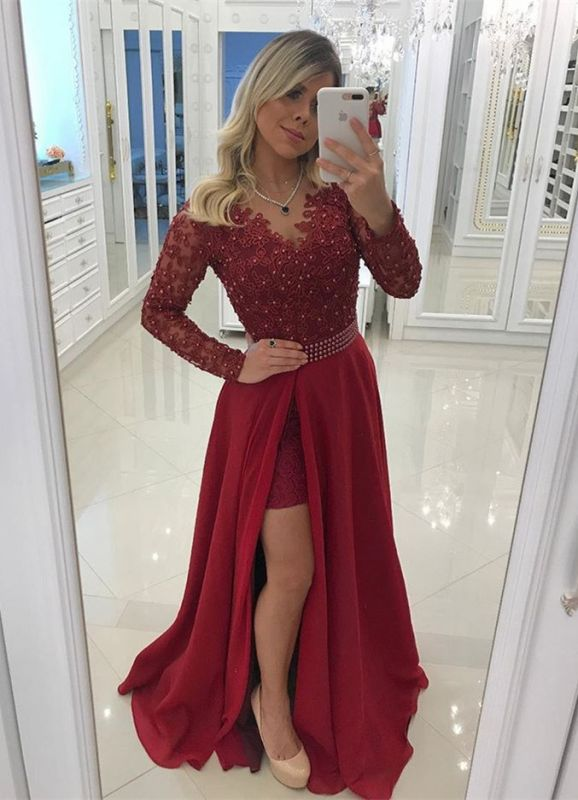 Chic Long Sleeve Burgundy Evening Dress   2020 Prom Party Dress With Pearls BC0210