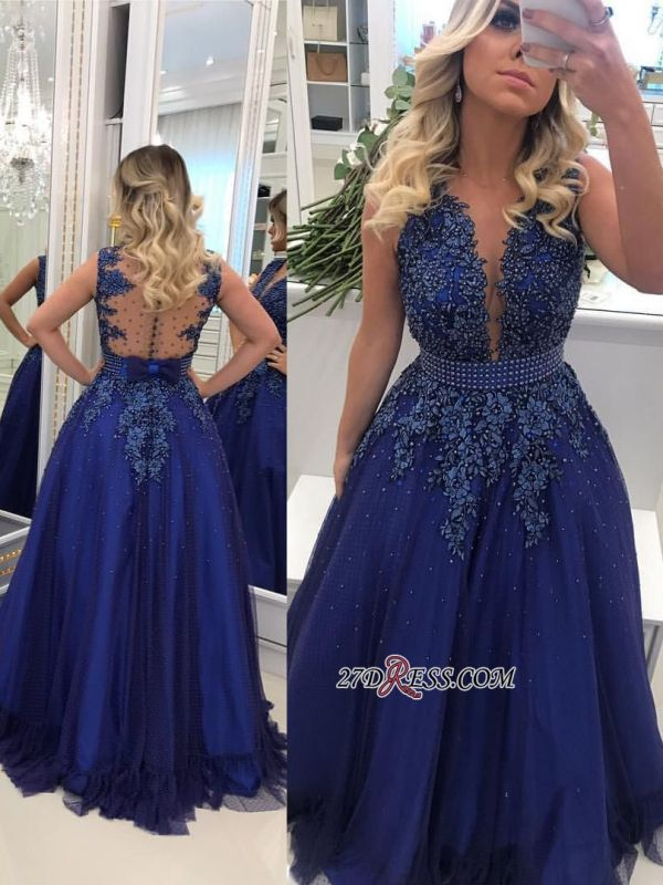 Glamorous V-Neck Lace Prom Dresses | 2020 Long Navy Evening Dress Online BMT BC0593