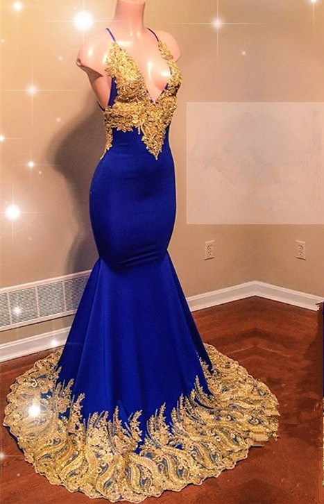 Glamorous V-Neck Royal Blue Prom Dress | 2020 Mermaid Evening Gowns With Gold Appliques BC0622