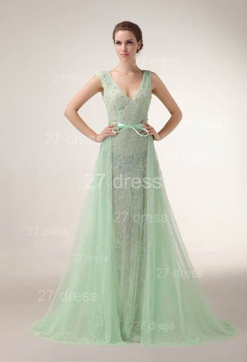 Sexy V-Neck Lace Evening Dresses Bownot A-Line Prom Gowns with Beadings
