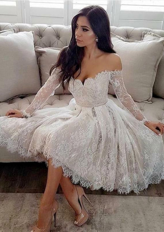 Long Sleeve Off-the-Shoulder Homecoming Dress   2020 Lace Short Prom Dresses