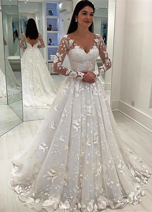 Gorgeous Long Sleeve Wedding Dresses | 2020 Appliques Long Bridal Gowns