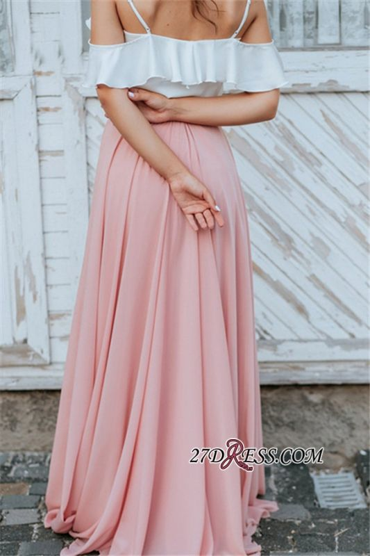 Spaghetti-Straps A-line Elegant Floor-Length Backless Bridesmaid Dresses