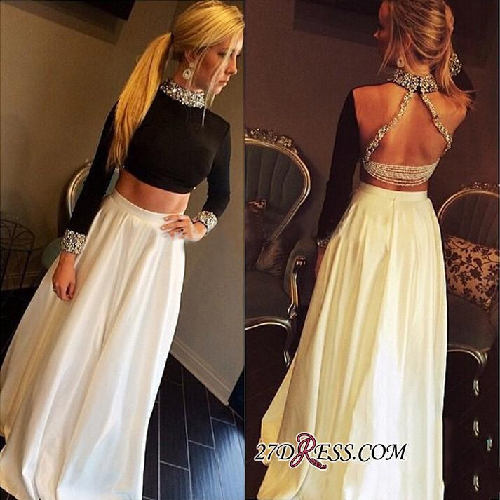 High-Neck Crystal Sexy A-Line Long-Sleeves Two-Pieces Prom Dress qq0255