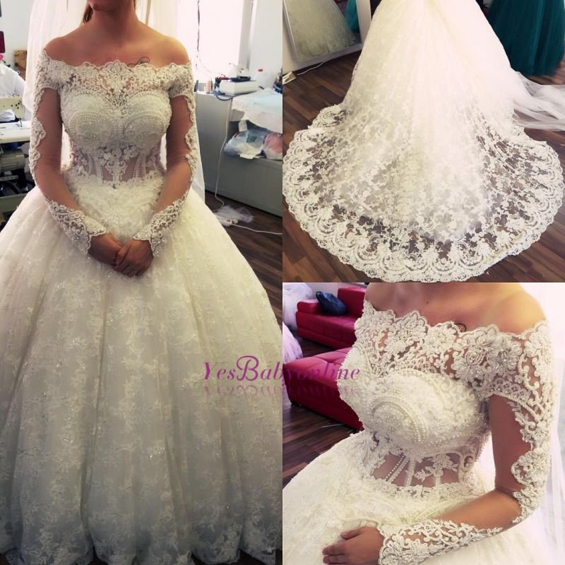 Ball-Gown Off-the-Shoulder Amazing Lace Pearls Long-Sleeves Wedding Dresses