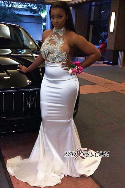 Gorgeous White Halter Mermaid Prom Dress | 2020 Long Evening Gowns On Sale BK0