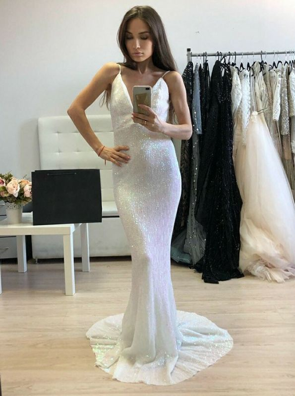 Sexy Sleeveless Spaghetti Strap Evening Gowns | Long Mermaid Backless Sequins Prom Dress