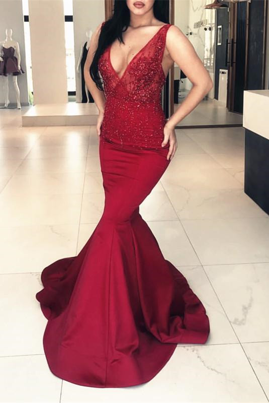 Elegant Burgundy V-Neck Prom Dresses | 2020 Mermaid Long Evening Gowns With Appliques