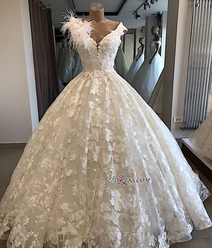 Appliques V-neck Ball-Gown Feathers Alluring Wedding Dresses
