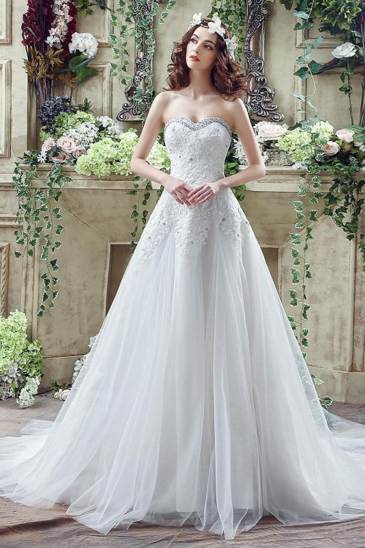 Glamorous Sequined Lace Tulle 2020 Wedding Dress Court Train Lace-up
