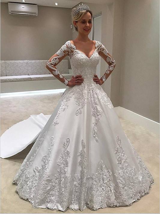 Gorgeous Long Sleeve Wedding Dress | Long Lace V-Neck Bridal Gowns on Sale BC0425