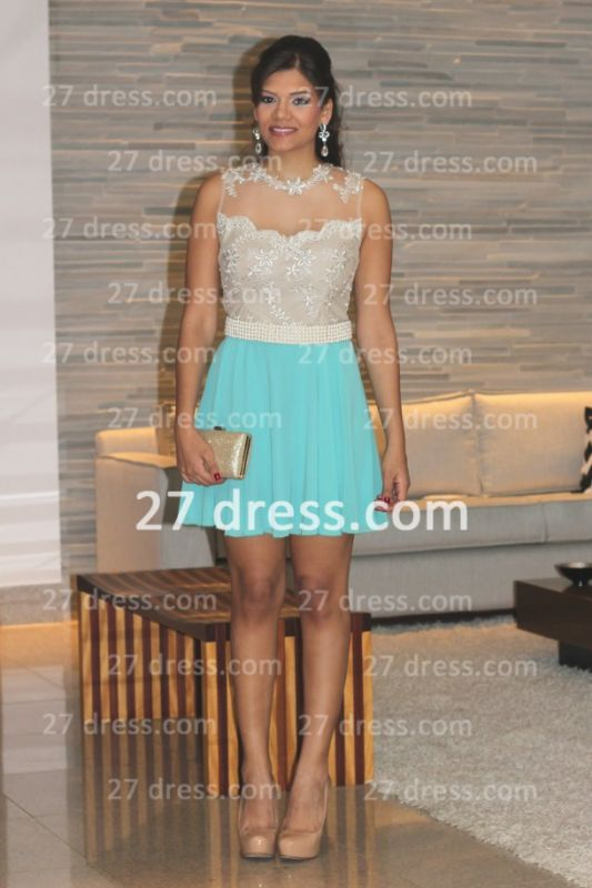 Pearl Short Lace Prom Dresses 2020 New Arrival Lindo Vestido Party Gowns See Through Sleeveless Green
